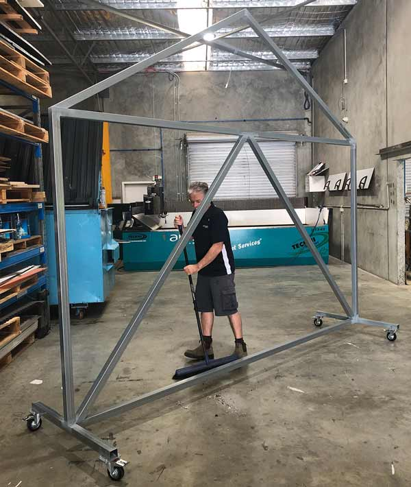 Steel frame completed for Barn Wall