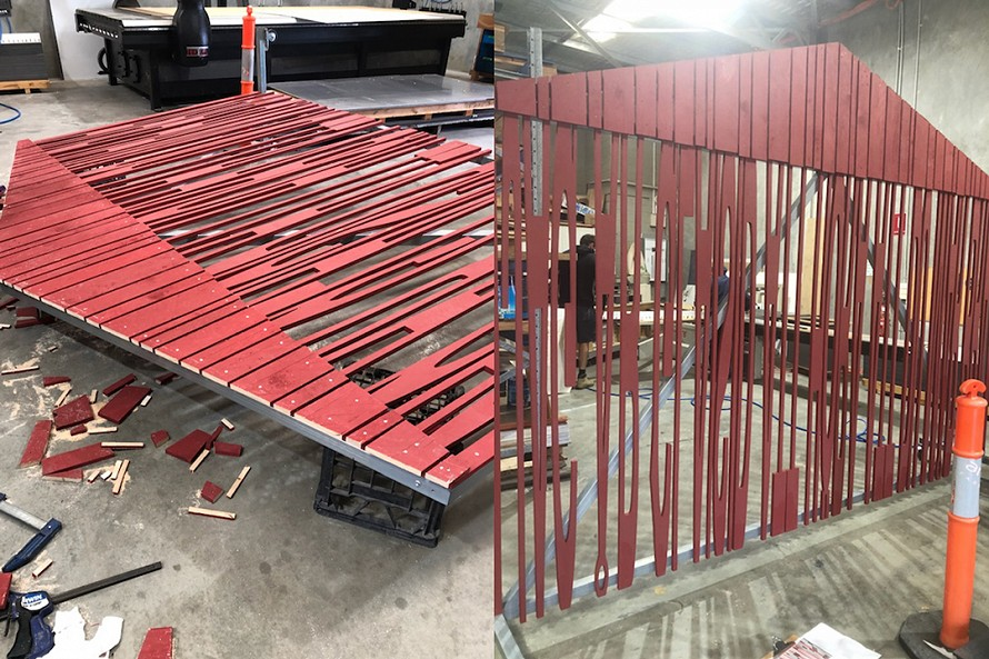 'Barn Wall' ready to be transported to Art Gallery of WA for exhibition opening, 17 August 2018. Thanks to Mark and his team