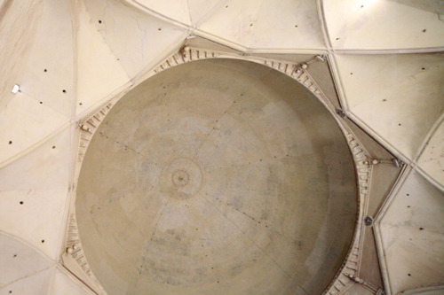 Gol Gumbaz - the first research site in India. This picture was taken from under the main dome in January this year. Three days of audio, video and still recording were made of this fantastic example of acoustic architecture. Gol Gumbaz is situated in Central India in the town of Bijapur. Photo Ian Hobbs.
