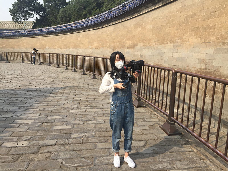 Echo Li and Chong Zhan assisting, documenting the echo wall at the Temple of Heavens