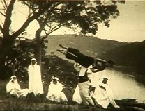 Still from the original 1920's film,  Castlecrag – theatre in the bush featuring the Burley Griffins